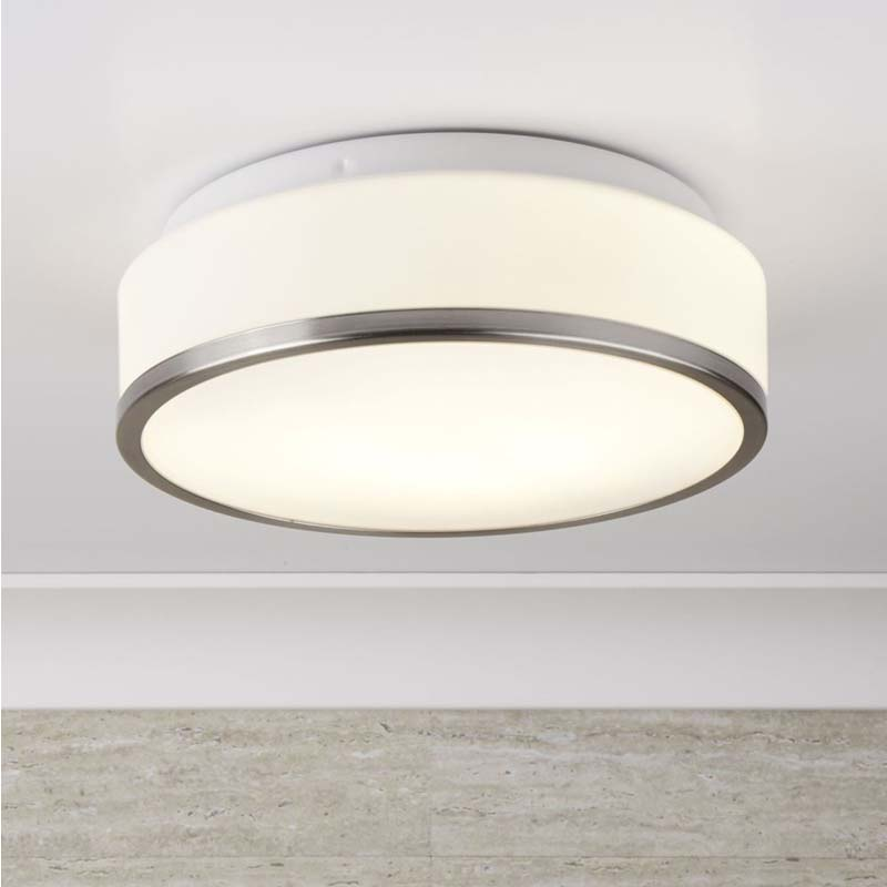 Searchlight BATHROOM - IP44 2 LIGHT FLUSH, OPAL WHITE GLASS SHADE 7039-28SS