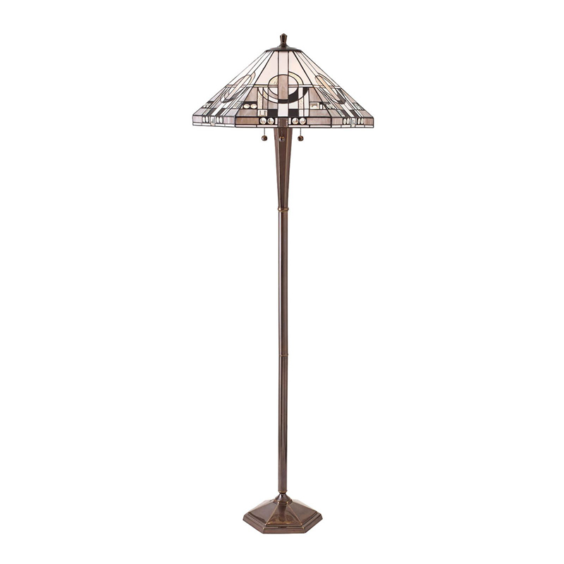 Metropolitan Floor Lamp With Tiffany Style Glass & Deep Antique Patina Finish