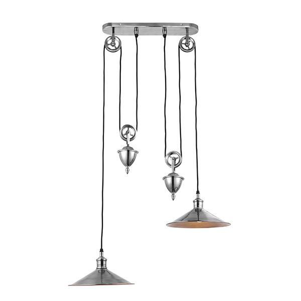 Victoria Rise & Fall Ceiling Pendant Light In Satin Nickel Finish, Pull Up/Down