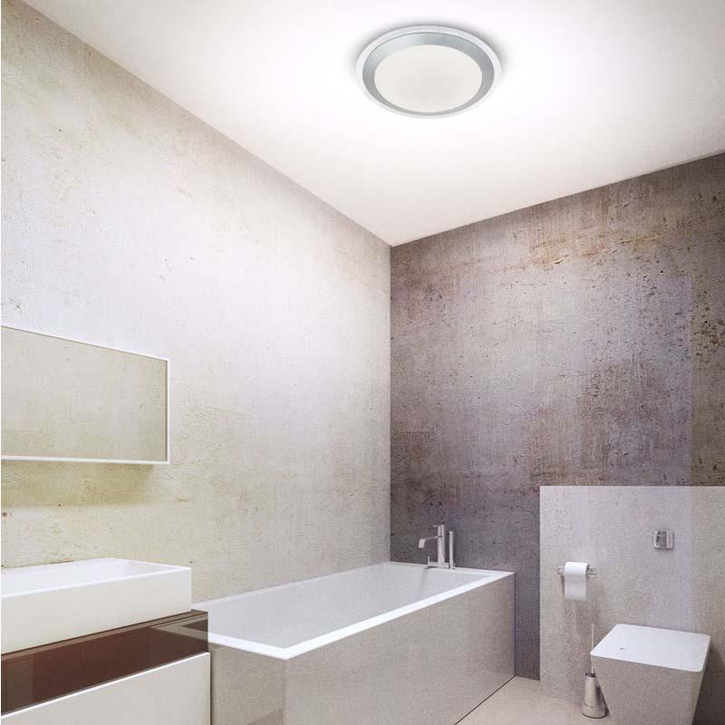 Led Bathroom Ip44 Flush, Clear & Silver, White Shade