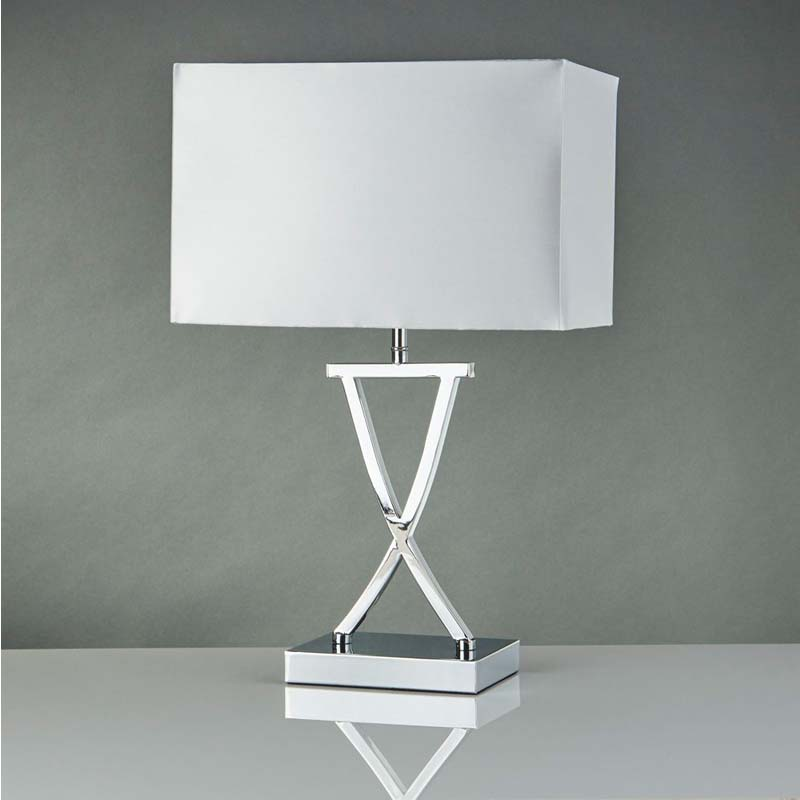 White Rectangle Shade/X Shape Chrome Base Modern And Stylish Table Lamp