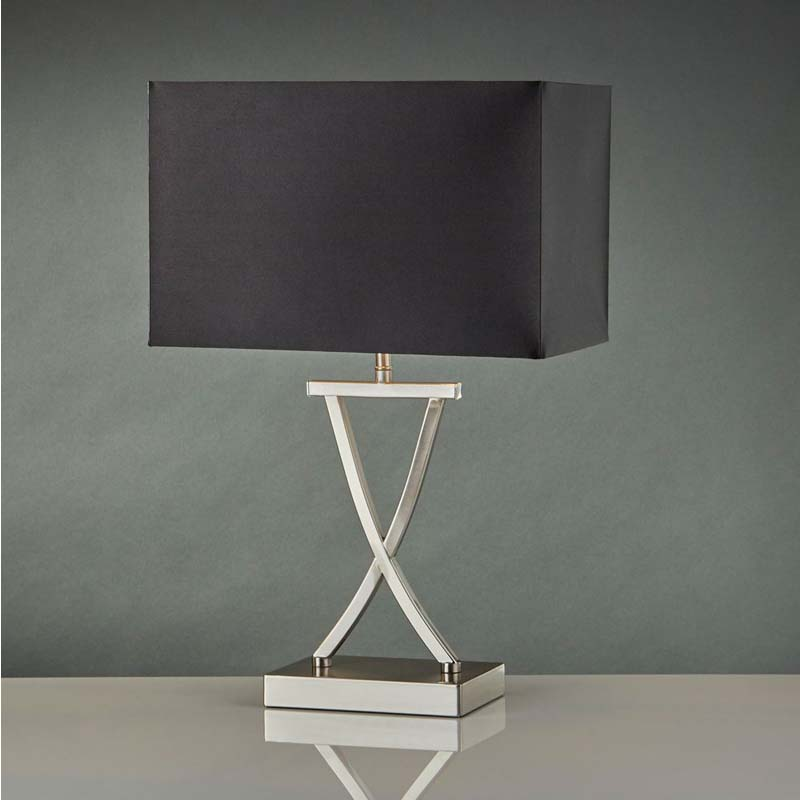 Satin Silver X Shape Table Lamp - Black Rectangle Shade