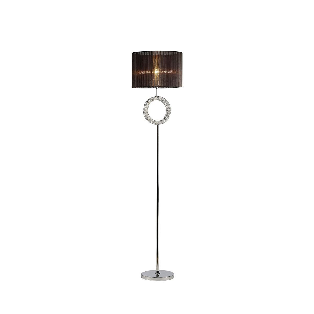 Diyas Florence Round Floor Lamp With Black Shade 1 Light Polished Chrome/Crystal