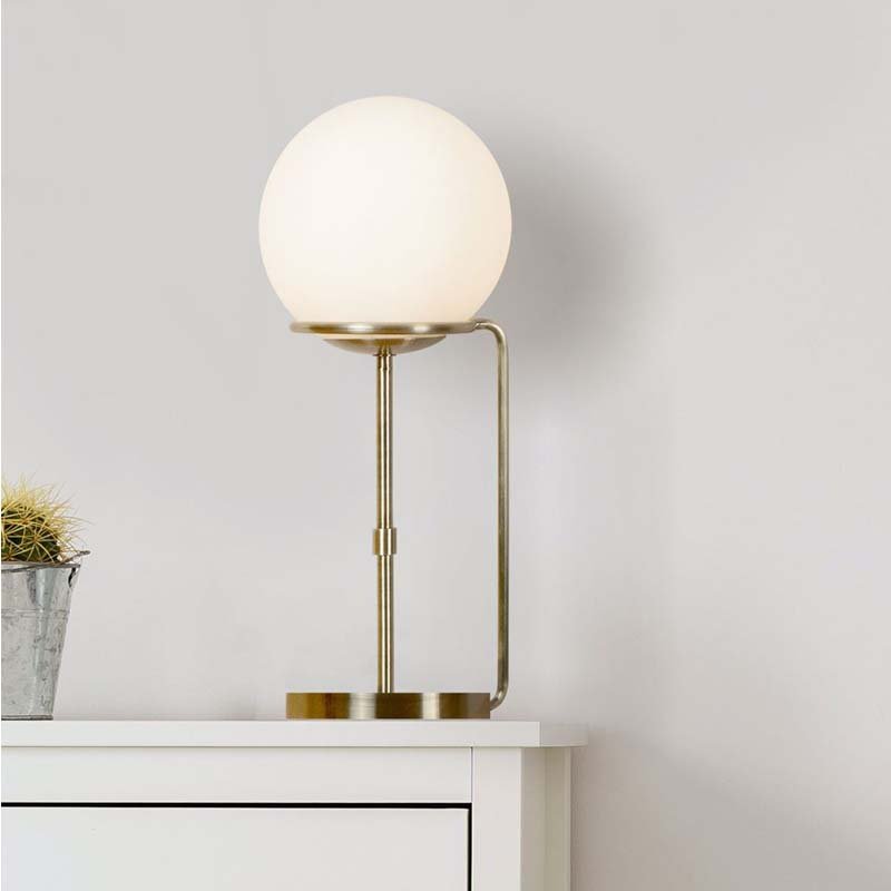 Sphere 1 Light Table Lamp, Antique Brass, Opal White Glass Shades