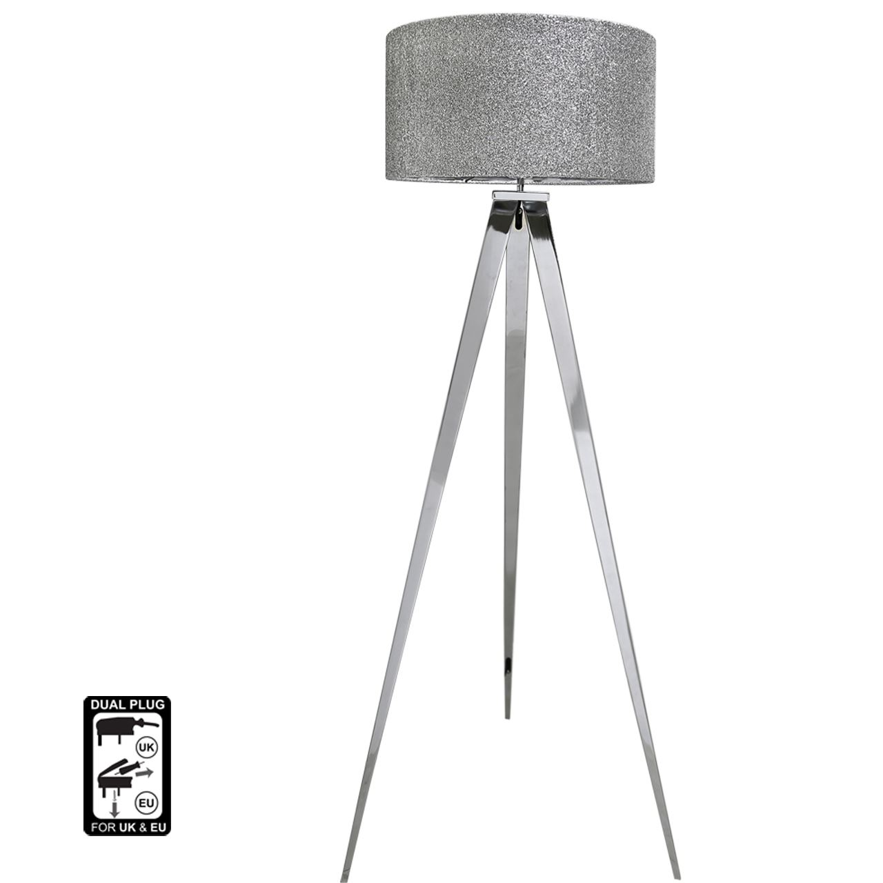 Chrome Hollywood Floor Lamp with 19 inch Glitter Drum Shade