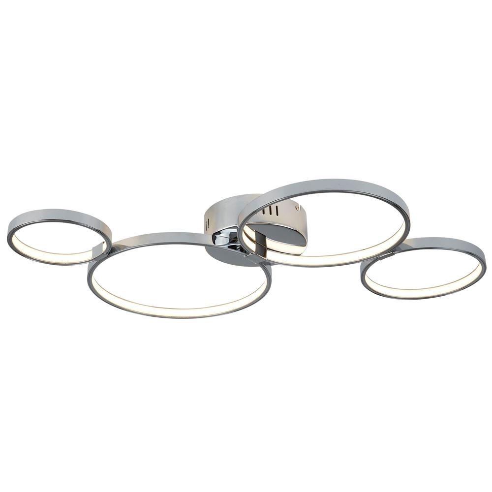 Solexa 4 Ring Led Ceiling Flush, Chrome