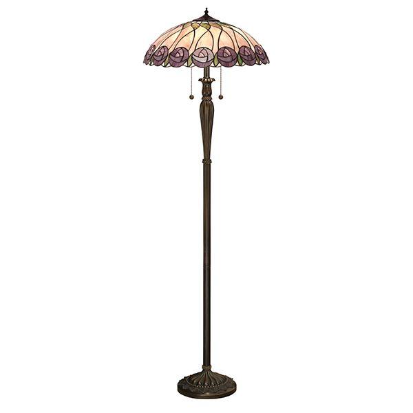 Hutchinson Polyresin Floor Lamp Tiffany Design Glass Shade 60W