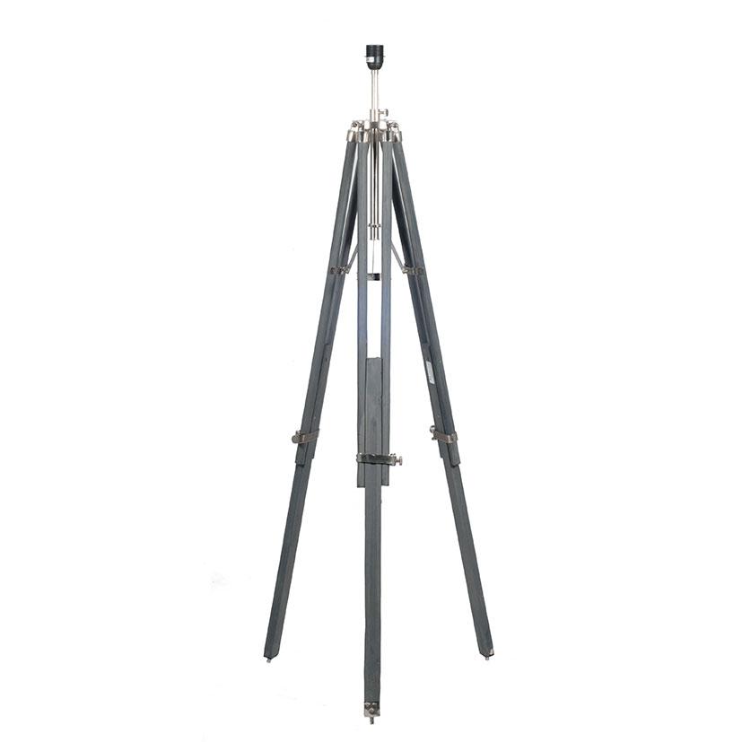 Rustic Style Tripod Floor Lamp Grey Wood Nickel Metal Detail