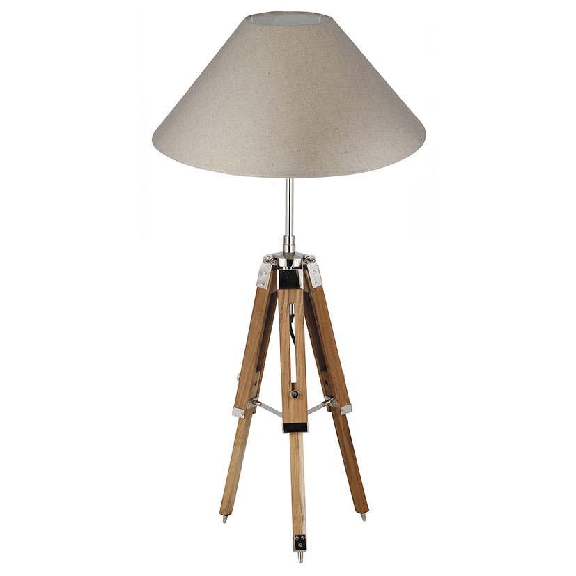 Natural Wood Tripod Table Lamp Base Only