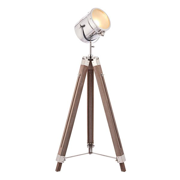 Broadway Nautical Floor Lamp 40W SW Chrome Head And Wood Base