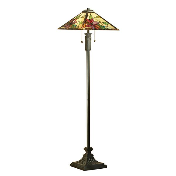 Traditional Vintage Black Floor Lamp Tiffany Design Suitable For Interiors