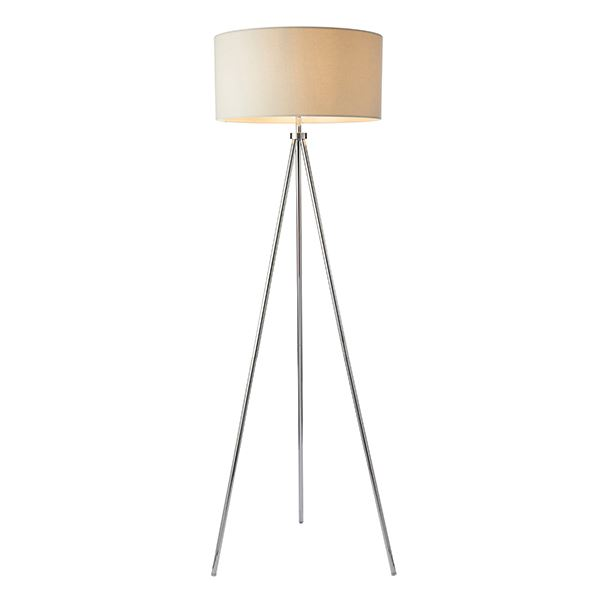 Tripod Floor Lamp 60W SW - Chrome Plate Ivory Faux Linen Shade