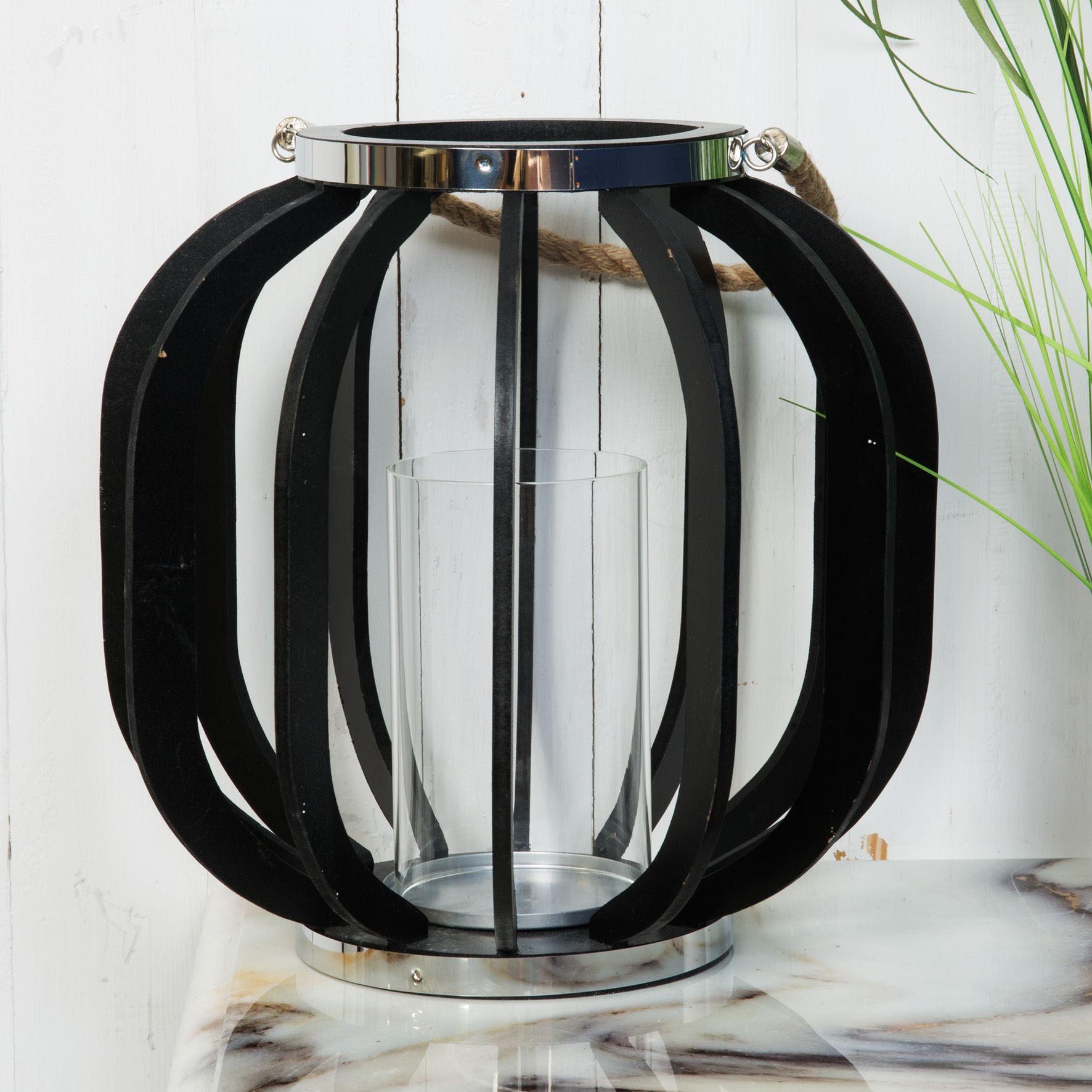 Hestia Metal & Black MDF Lantern 28.5cm - Hestia