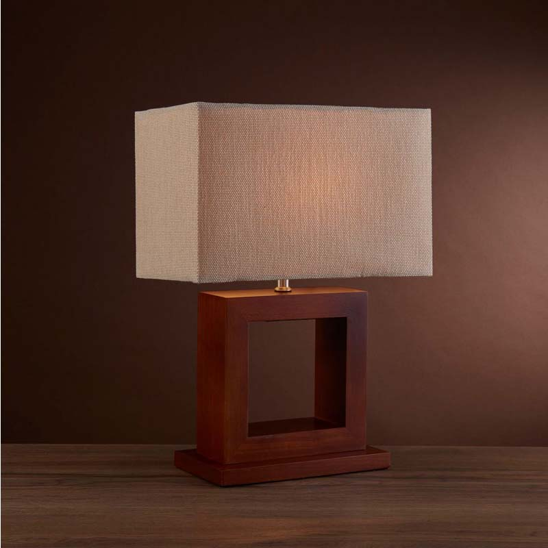 Modern Dark Wood Square Table Lamp Complete With Shade