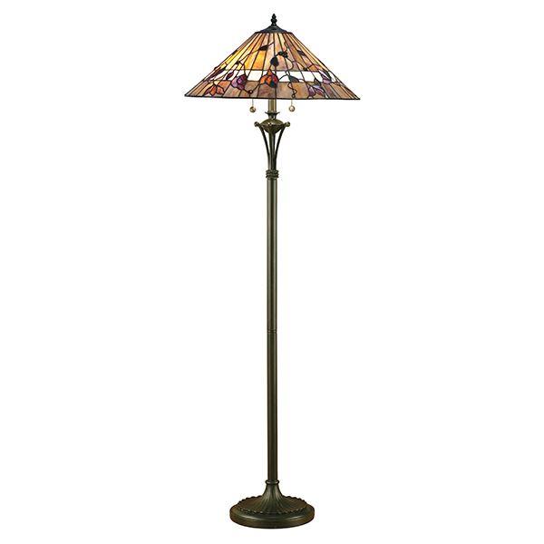 Bernwood Tiffany Style Floor Lamp Polyester Base Multi Colour Glass Shade