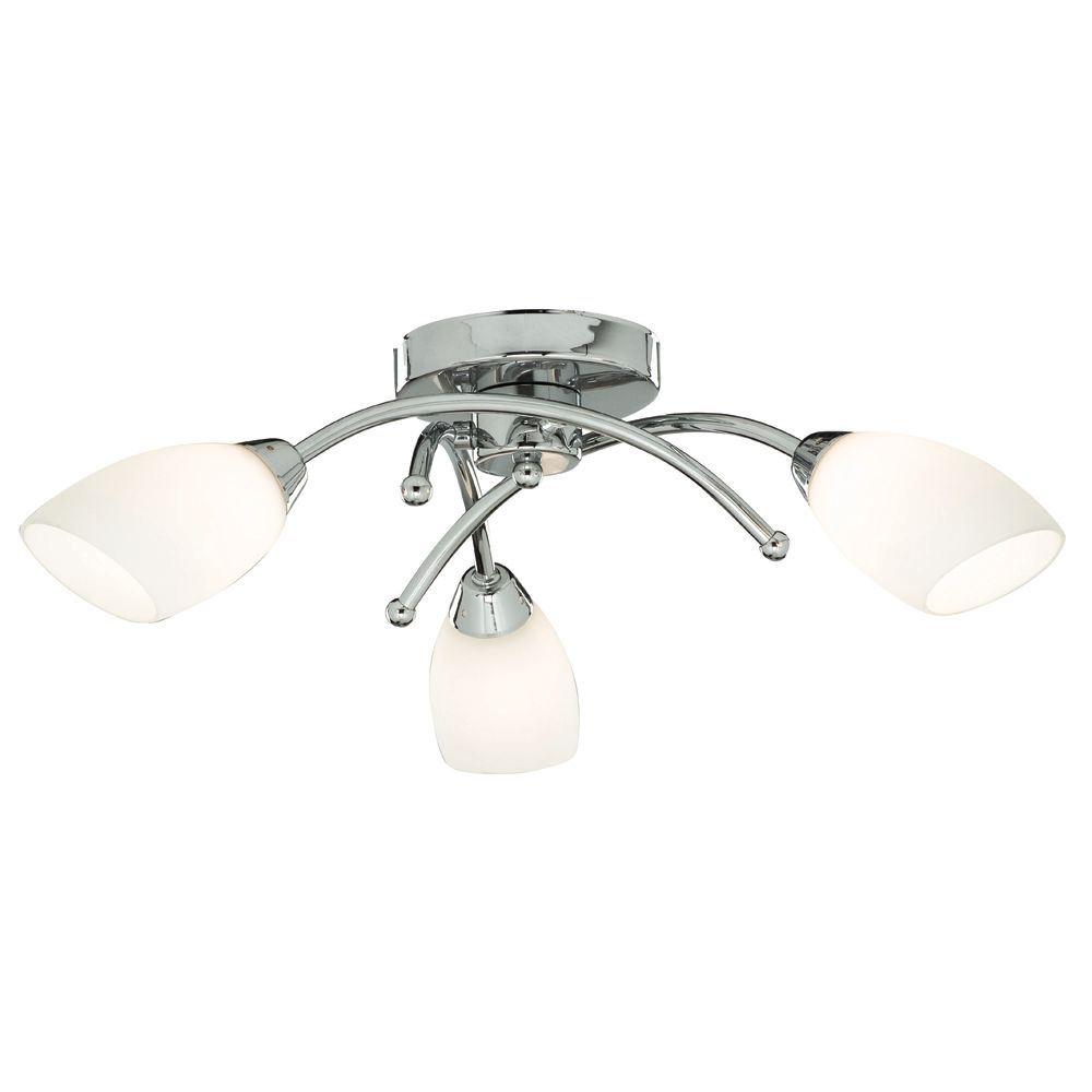 Bathroom - Ip44 (G9 Led) 3 Light Chrome Flush With Opal Glass Shades