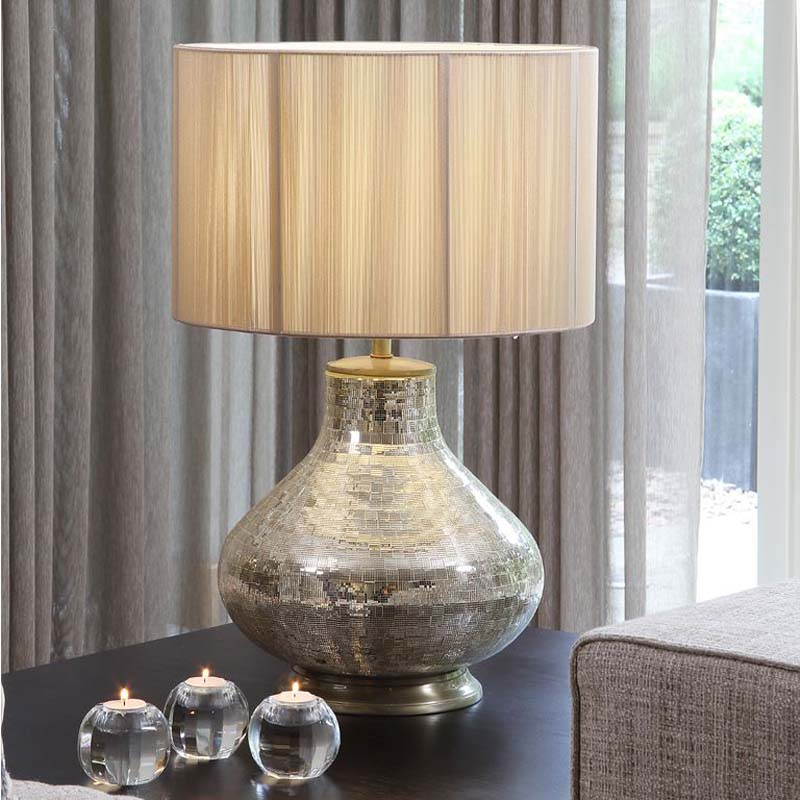 Champagne Mosaic Table Lamp Base Only Antique Brass Detail