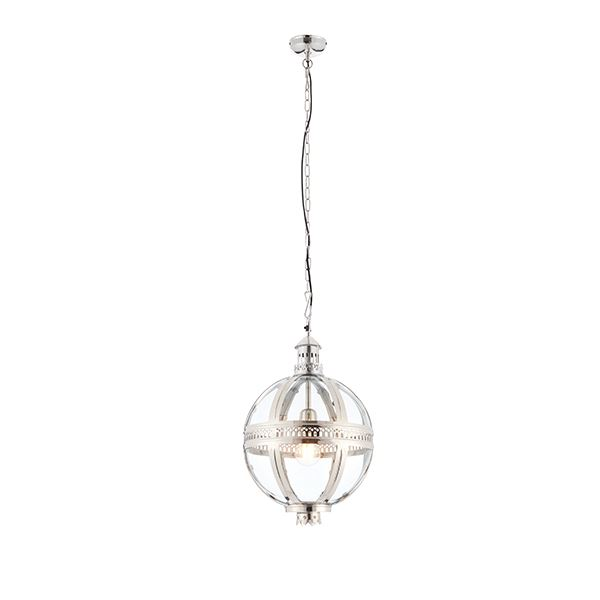 Vienna Bright Nickel Plated On Solid Brass & Clear Glass 305Mm Ceiling Pendant