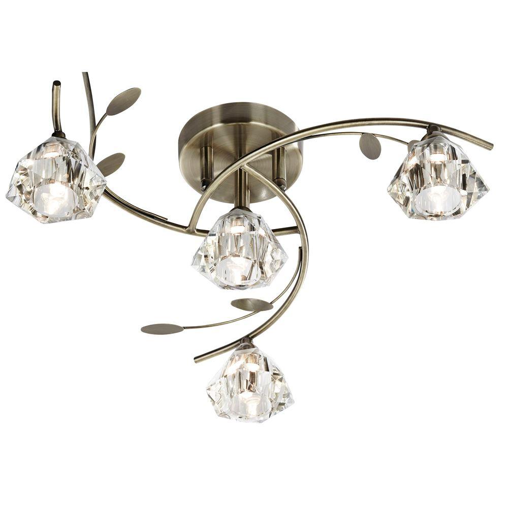 Sierra - 4 Light Semi-Flush Ceiling, Antique Brass With Sculptured Clear Glass Shades