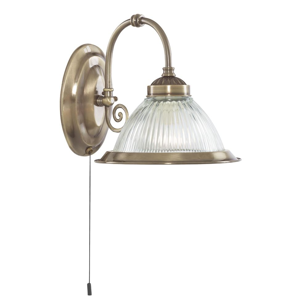 American Diner Antique Brass Wall Light With Clear Ribbed Glass