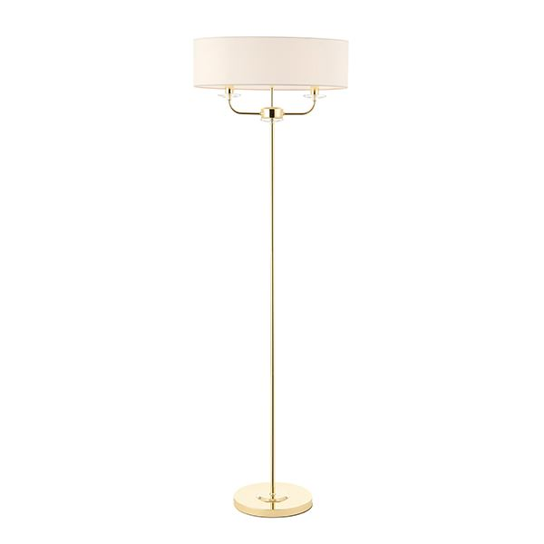 Nixon 2Lt Floor Lamp 40W SW Brass Plate Vintage White Faux Silk Shade