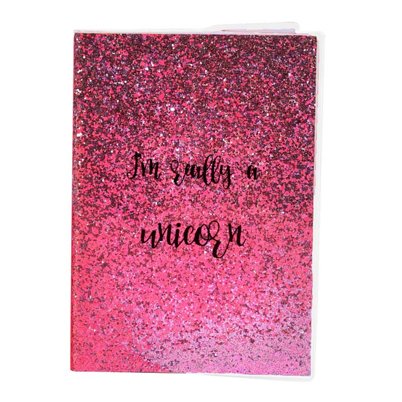 Unicorn Magic A5 Pink Glitter Notebook: I