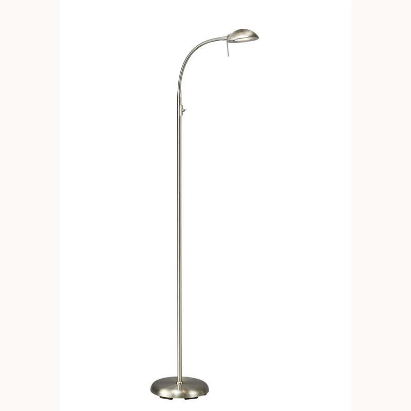 1 Light Satin Nickel Floor Lamp G9 Bambreg Range For Living Room, Bedroom