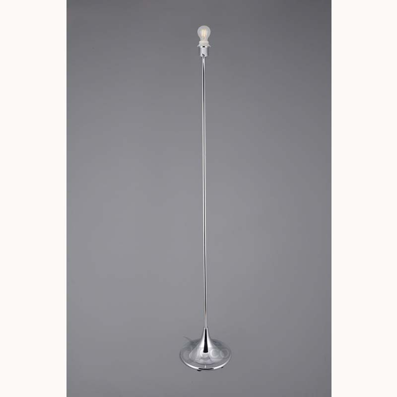 Polished Chrome 1 Light Round Curved Floor Lamp E27 Crowne - Shade Not Included