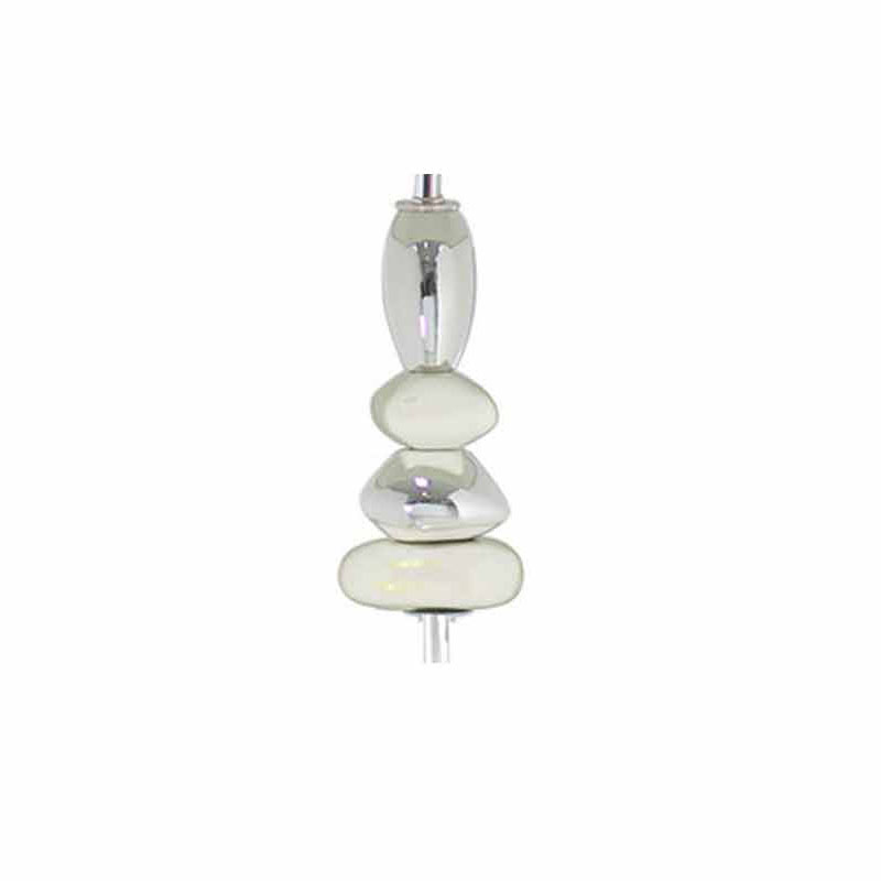 """White And Chrome Modern Pebble Floor Lamps with 17"""" inch White & Silver Shade"""
