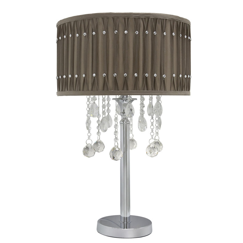 Stunning Silver Chrome Table Lamps Crystal Cut Modern GlassTaupe Diamante Studded Pleated Shade