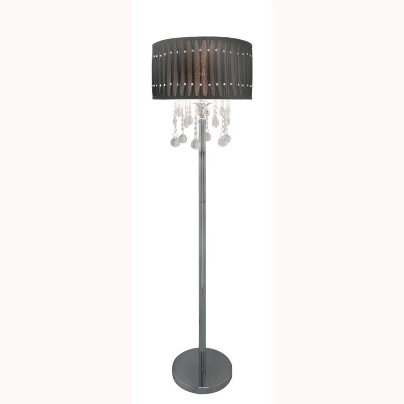Versailles Chrome Floor Lamps & Crystal Cut Droplets With Grey & Silver Pleated Shade