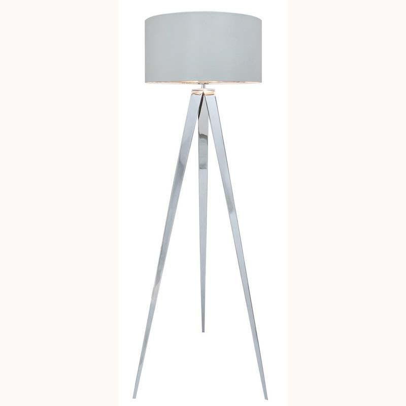 Chrome Hollywood Floor Lamp with 19 inch White faux silk cylinder Shade