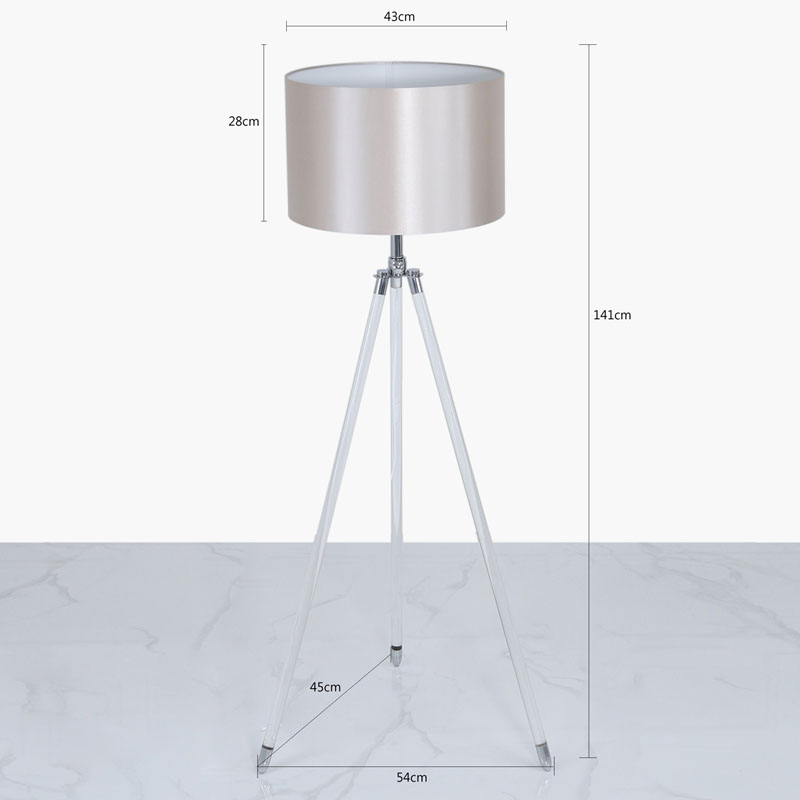 "120cm Aluminium Acrylic Tripod Floor Lamps With 17"" Blush White & Pink Satin Silk Cylinder Shade"