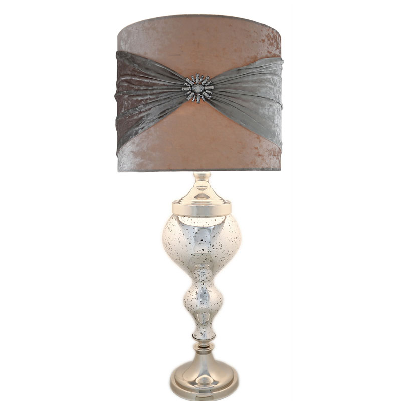 """Silver Mercury Glass Chrome Curve Table Lamp With 16"""" Silver Crystal Shade"""