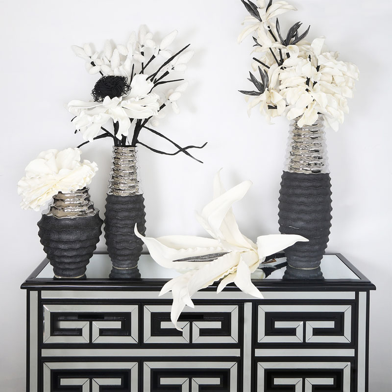 White Foam Single Black Stem Leafy Spray Flower with Realistic Impression 103cm