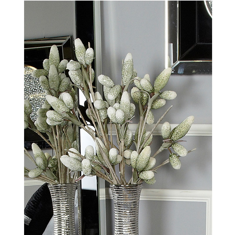 Green Foam Single Stem Bud Branch Flower 120cm Realistic Impression
