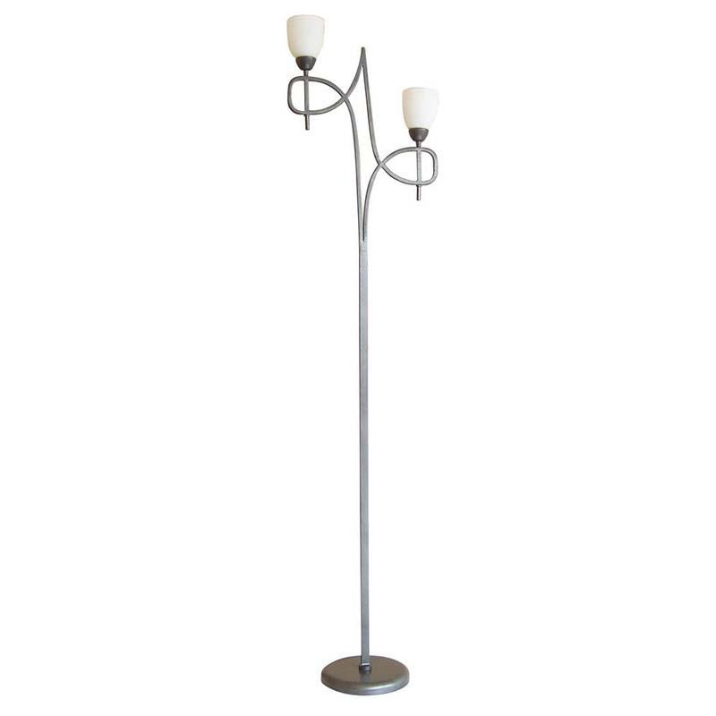 Floor Lamp With In-Line Dimmer 2 Light Tax/Pewter