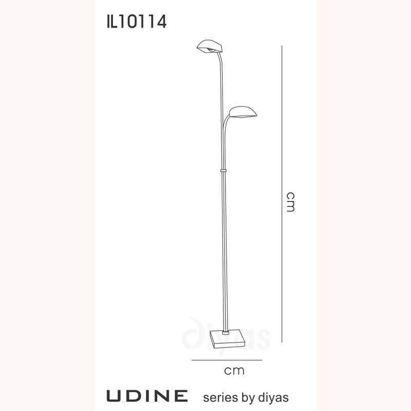 Designer Floor Lamp With In-Line Dimmer 2 Light Satin Frosted Glass