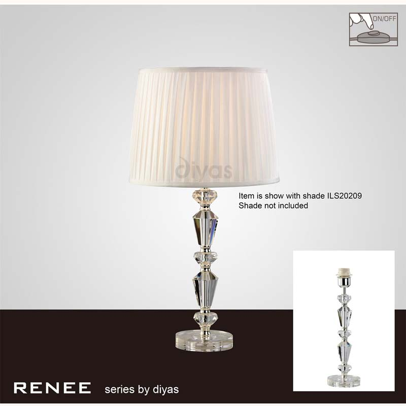 Contemporary 1 Light Crystal Table Lamp Without Shade