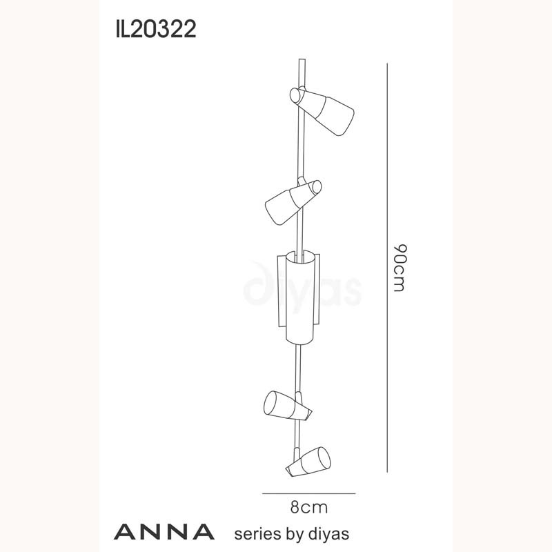 Anna 6 Light Satin Chrome Bar Spotlight With Frosted Glass Shade