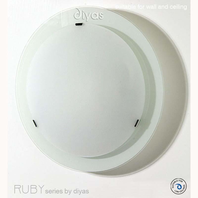 Ruby Flush Fitting Small Round Satin Nickel/Opal Glass