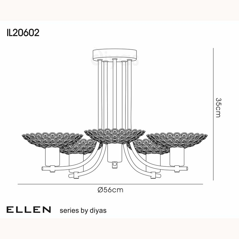 Ellen Satin Brass 5 Light Semi Ceiling Chandelier & Crystal