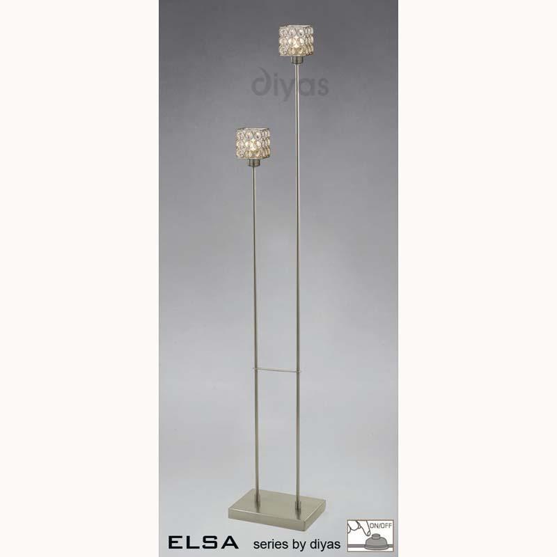 Elsa Floor Lamp 2 Light Satin Nickel/Crystal