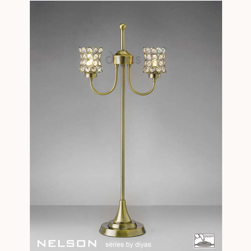Stunning Table Lamp 2 Light Antique Brass/Crystal - Contemporary Design