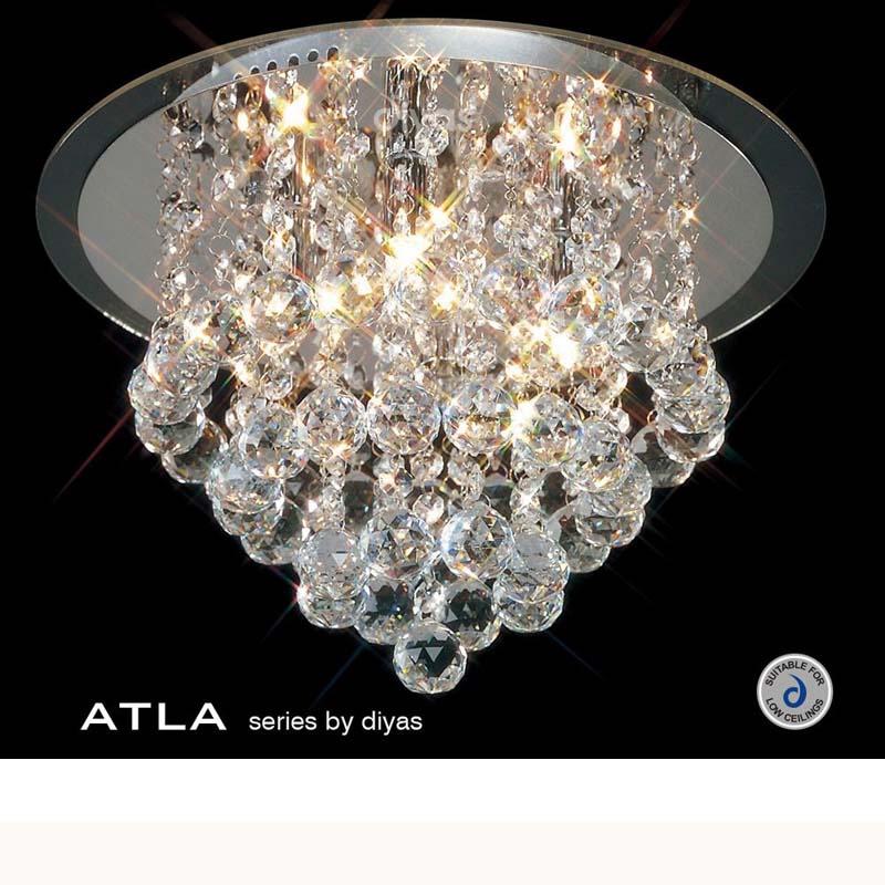 Atla Flush Ceiling 4 Light Polished Chrome/Acrylic Trim/Crystal