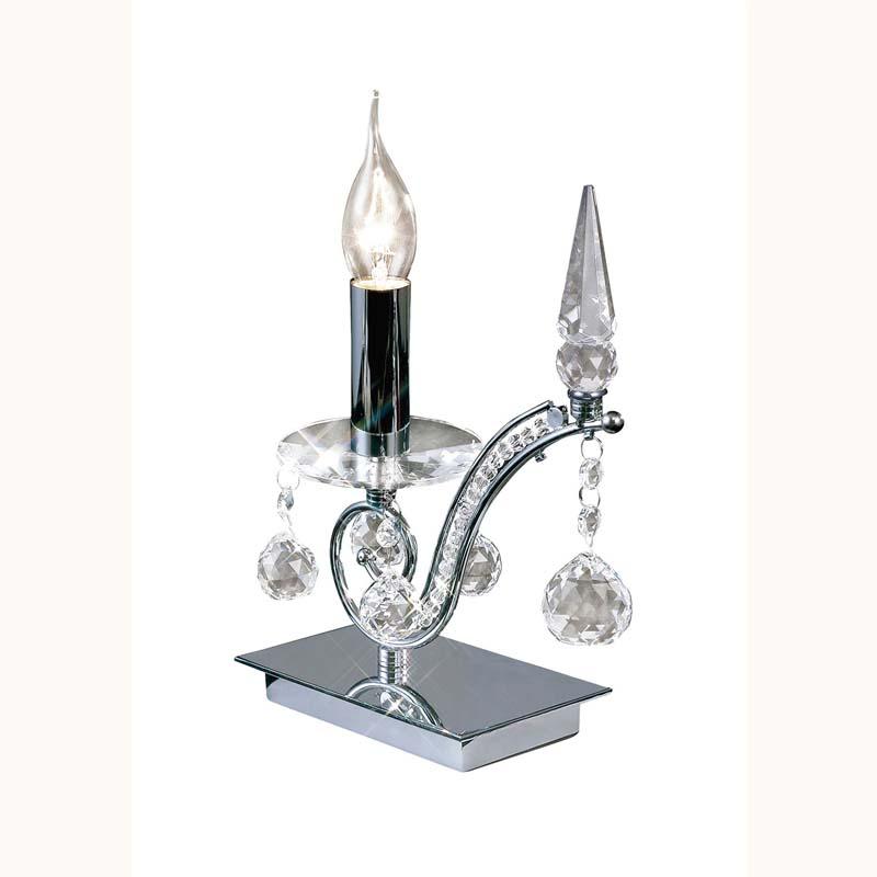 Table Lamp 1 Light Polished Chrome/Crystal Modern Style - Home Decor