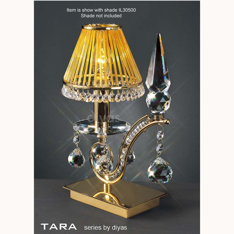 French Style Gold 1 Light Table Lamp & Crystal Detail