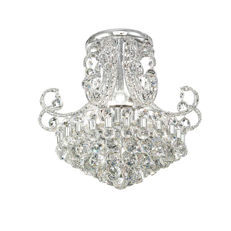 Pearl Ceiling Round 9 Light Polished Chrome/Crystal