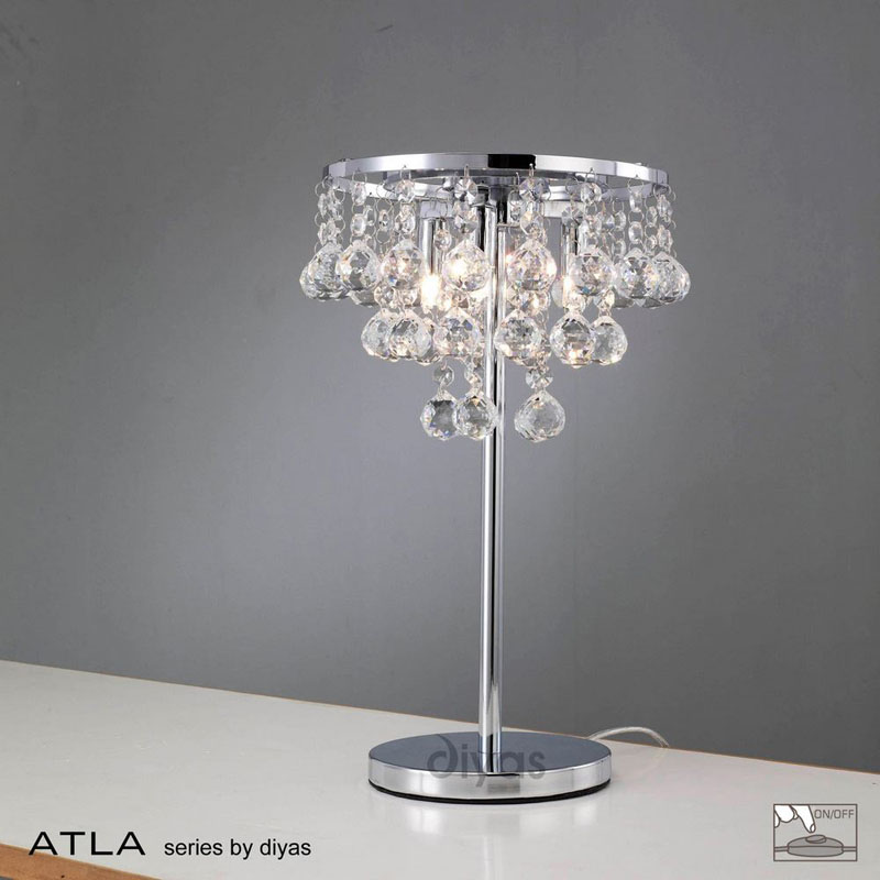 Atla 3 Light Table Lamp Polished Chrome Finish with Asfour Clear Crystals
