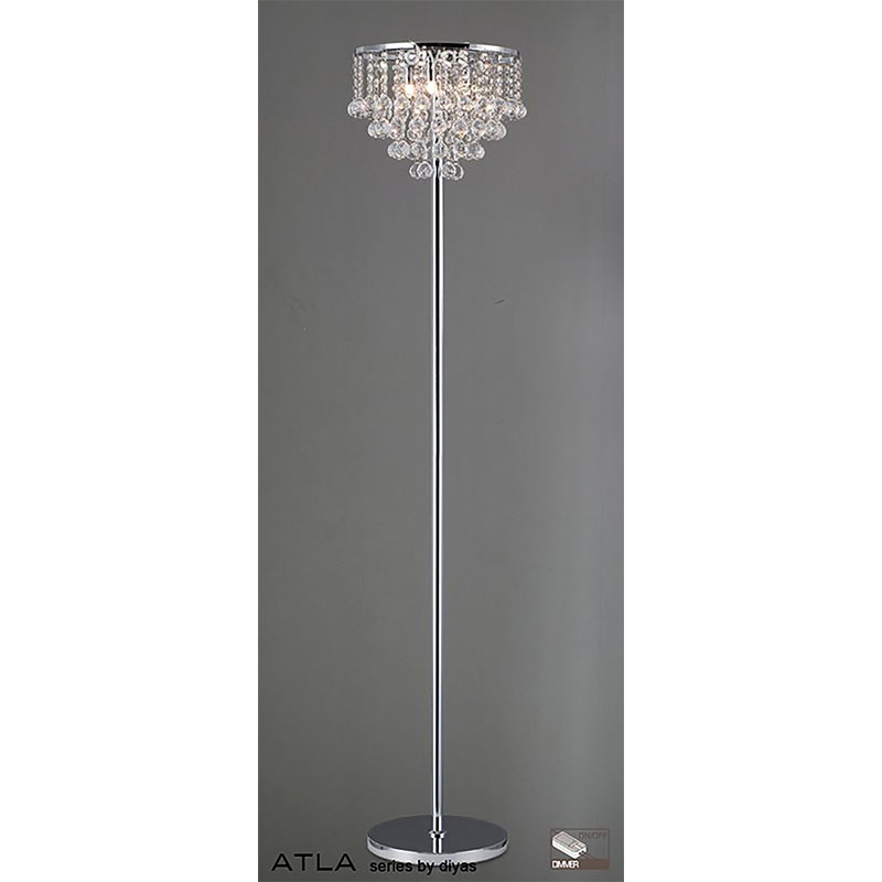 Atal Floor Lamp 4 Light Polished Chrome/Crystal